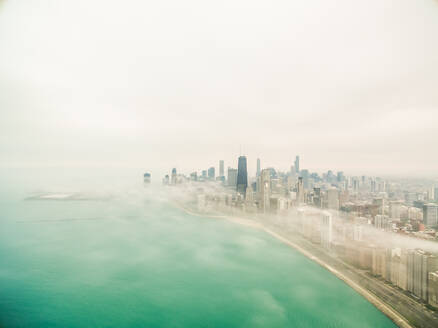 Aerial view of mist covering Chicago coastal line, USA - AAEF01323