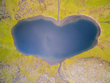 Aerial view of Vatnsdalsvatn lake on a shape of a heart, Faroe island - AAEF01338