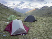 Tents on mountains against sky, Scotland, UK - HUSF00055
