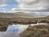 Scenic view of lake and landscape against cloudy sky, Scotland, UK - HUSF00064