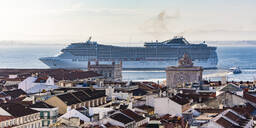 Cruise ship in Tagus River against sky at Lisbon, Portugal - WD05371