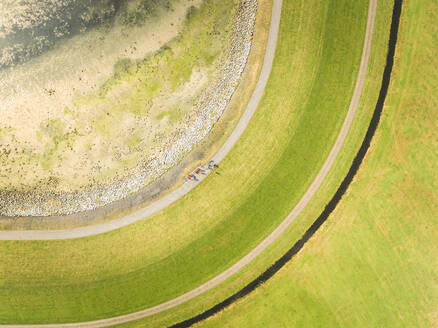 Aerial view of meadow in the Netherlands - AAEF01570