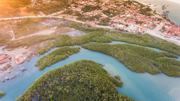 Aerial view of Choró river with city in background in Brazil - AAEF01669