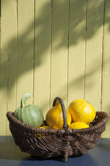 Close-up of pumpkins in wicker basket on table against wall - GISF00452