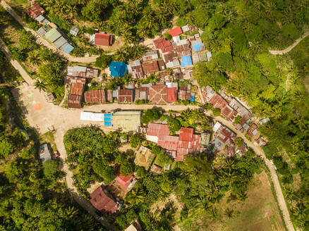 Aerial view of colourful rooftops and road in Dalaguete, Philippines - AAEF01802