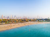 Aerial view of a luxury beach with Dubai skyscrapers at the background, UAE - AAEF01871