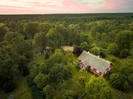 Aerial view of houses in the forest in countryside in Estonia - AAEF01998
