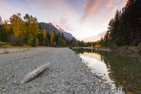 Sunset at Avalanche Creek, Glacier National Park, Montana, United States of America, North America - RHPLF00200