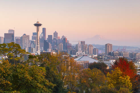View of the Space Needle from Kerry Park, Seattle, Washington State, United States of America, North America - RHPLF00215