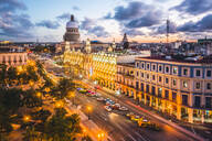 The Gran Teatro de La Habana and El Capitolio at sunset, Havana, Cuba, West Indies, Caribbean, Central America - RHPLF00323