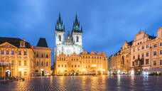 Illuminated Old Town Square with Our Lady Tyn Church at night, Prague, UNESCO World Heritage Site, Czech Republic, Europe - RHPLF00353