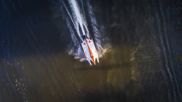Aerial view of speed boat in Khalid lake in Dubai, United Arab Emirates - AAEF02253