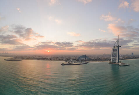 Panoramic aerial view of the luxurious Burj Al Arab Hotel in the bay of Dubai - AAEF02271