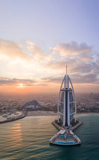 Panoramic aerial view of the luxurious Burj Al Arab Hotel in the bay of Dubai - AAEF02274