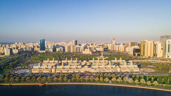 Aerial view of Flag Island and cityscape in Khalid Lake, Dubai, UAE - AAEF02316