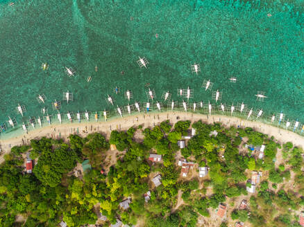 Aerial view of beach, buildings, filipino boats, Balicasag Island, Philippines. - AAEF02406