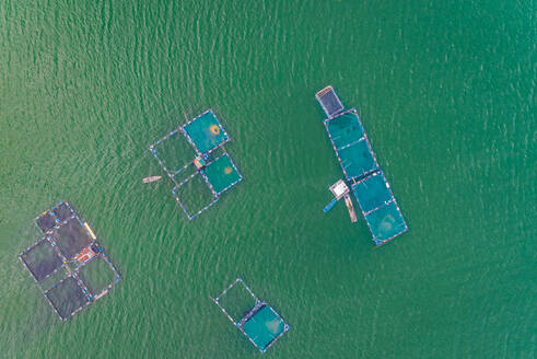 Aerial view of fish farm pools in Talisay, Philippines - AAEF02436