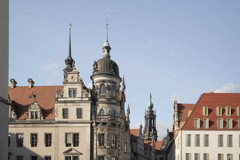 View of Residenzschloss against blue sky in Dresden, Saxony, Germany - CHPF00549