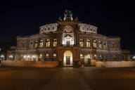 View of Semperoper against sky in city at night, Saxony, Germany - CHPF00564