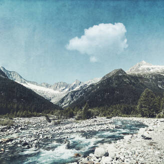 Scenic view of Mallero mountain river and mountains against sky, Lombardy, Italy - DWIF01026