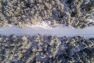 Aerial view of a road covered with snow in the forest of Naage in Estonia - AAEF02513