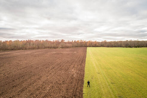 Aerial view of a man standing up at the separation between two different colored fields in Estonia - AAEF02696