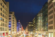View of Friedrichstrasse at night from above, Berlin, Germany - TAMF02072