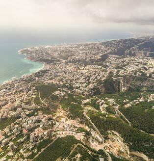 Aerial view of the Jounieh Bay in Keserwan District near Beirut, Lebanon - AAEF02839