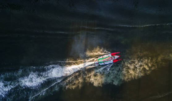 Aerial view of a speedboat during a race in Sharjah, UAE - AAEF02869