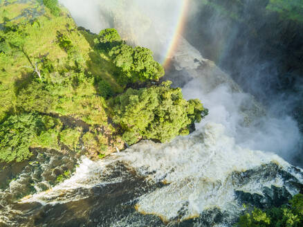 Aerial view of Victoria falls on the Zambezi River at the border between Zambia and Zimbabwe - AAEF03067