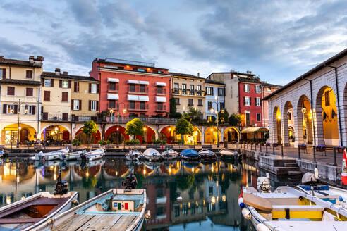 Sunset over marina at Lake Garda in Desenzano del Garda, Lombardy, Italy, Europe - RHPLF00643