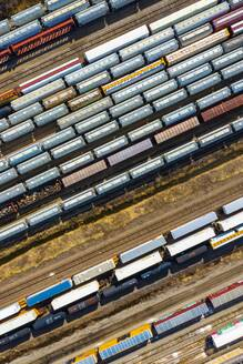 Aerial view of rail cars waiting at a staging railyard station in Aurora, IL - USA - AAEF03409