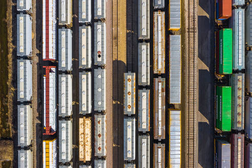Aerial view of rail cars waiting at a staging railyard station in Aurora, IL - USA - AAEF03412