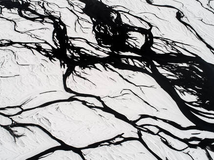 Aerial view of glacial rivers of Iceland - AAEF03604