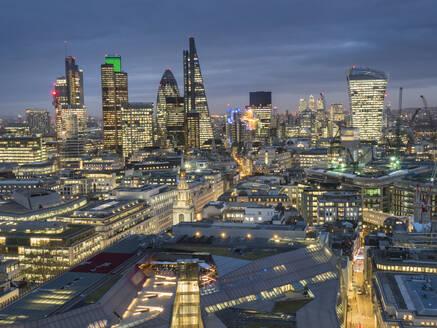 City of London skyline at dusk, London, England, United Kingdom, Europe - RHPLF01027
