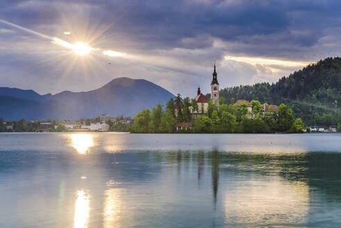 Lake Bled at sunrise with the Church on Lake Bled Island, Gorenjska Region, Slovenia, Europe - RHPLF01117