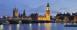 Big Ben and the Houses of Parliament, UNESCO World Heritage Site, and Westminster Bridge over the River Thames, London, England, United Kingdom, Europe - RHPLF01153