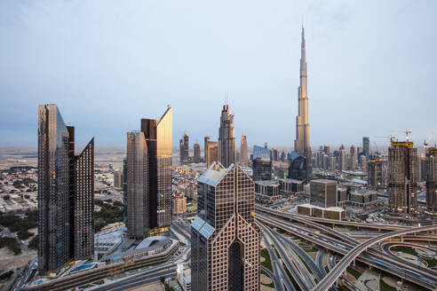 Burj Khalifa and Dubai Mall skyline, Dubai, United Arab Emirates, Middle East - RHPLF01282