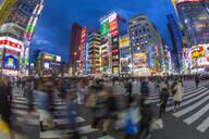 Kabukicho entertainment district illuminated at dusk, Shinjuku, Tokyo, Japan, Asia - RHPLF01312