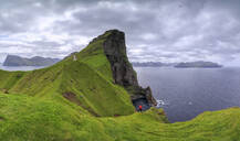 Panoramic of Kallur Lighthouse on cliffs, Kalsoy Island, Faroe Islands, Denmark, Europe - RHPLF01627