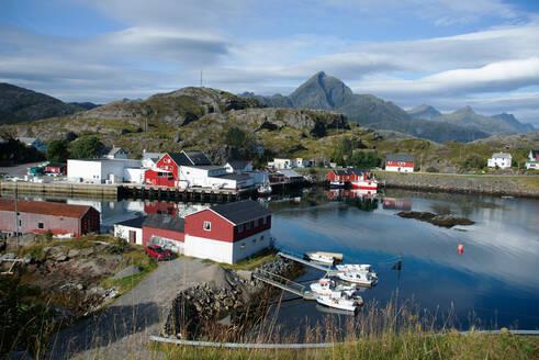 View of Sund Harbour, Lofoten Islands, Nordland, Norway, Scandinavia, Europe - RHPLF01745