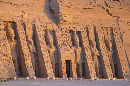 The small temple, dedicated to Nefertari and adorned with statues of the King and Queen, Abu Simbel, UNESCO World Heritage Site, Egypt, North Africa, Africa - RHPLF02009