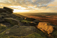 Carl Wark Hill Fort and Hathersage Moor from Higger Tor, sunrise in autumn, Peak District National Park, Derbyshire, England, United Kingdom, Europe - RHPLF02093