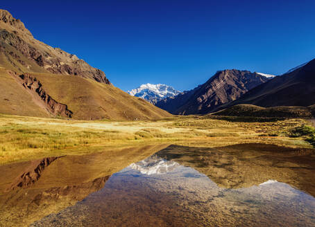 Aconcagua Mountain reflecting in the Espejo Lagoon, Aconcagua Provincial Park, Central Andes, Mendoza Province, Argentina, South America - RHPLF02120
