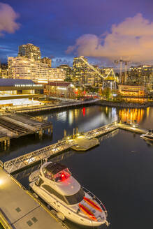 View of Lonsdale Quay in North Vancouver at dusk, Vancouver, British Columbia, Canada, North America - RHPLF02168