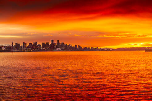 View of Vancouver Skyline from North Vancouver at sunset, British Columbia, Canada, North America - RHPLF02186