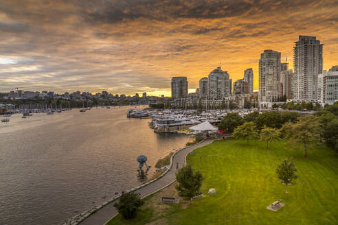 View of Vancouver skyline and False Creek as viewed from Cambie Street Bridge, Vancouver, British Columbia, Canada, North America - RHPLF02195