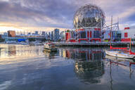 View of False Creek and Vancouver skyline, including World of Science Dome, Vancouver, British Columbia, Canada, North America - RHPLF02198