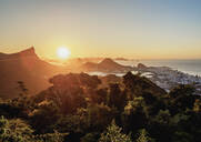 View from Vista Chinesa over Tijuca Forest towards Rio de Janeiro at sunrise, Brazil, South America - RHPLF02444