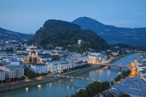 View of Salzach River with The Old City to the right and the New City to the left, Salzburg, Austria, Europe - RHPLF02864